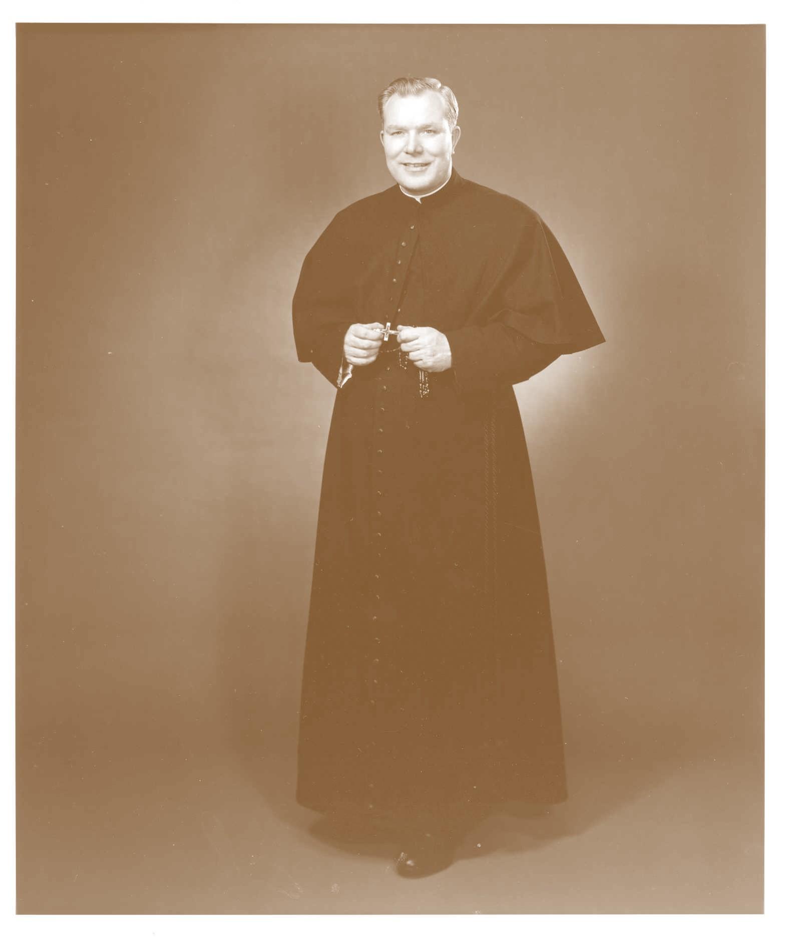 FatherPeytonWithRosarySepia